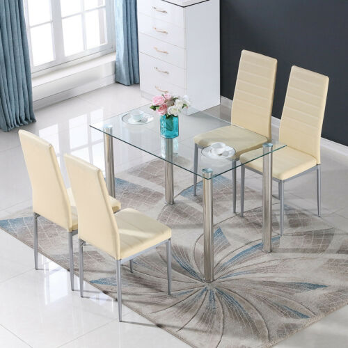 Glass Metal 5 Piece Dining Table Furniture Sets 4 Leather Ch
