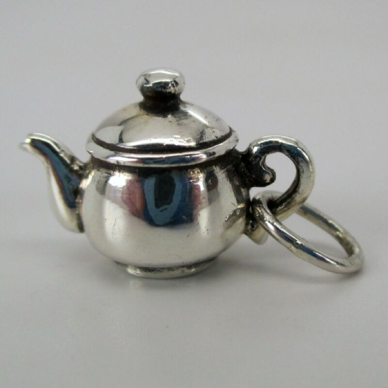 Sterling Silver TEAPOT Charm for Bracelet PENDANT New Condition TEA PARTY Gift