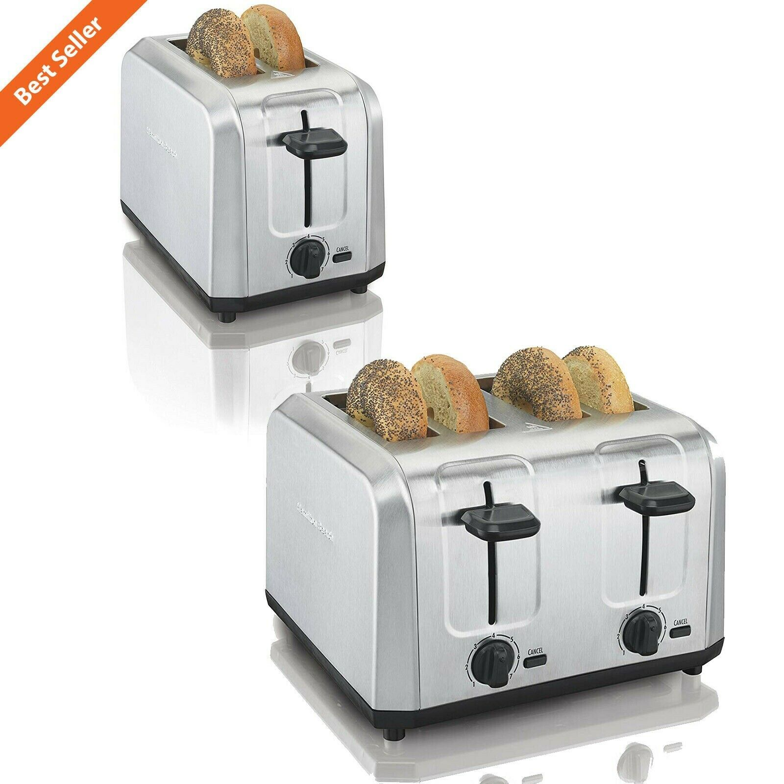Brushed Stainless Steel 2 / 4 Slice Toaster Extra-Wide Slots
