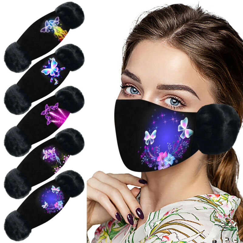 Unisex Prints Reusable washable 2-in-1 Mouth Cover Earmuff P