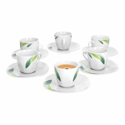 6er Espressotassenset Siena 80 ml Unterteller Blatt-Dekor Porzellan Geschirr Dekor Porzellan