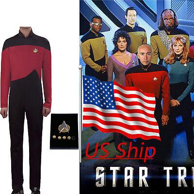 Cosplay Star Trek The Next Generation Red Costume Uniform Halloween Jumpsuit (Star Trek Tng Halloween Costumes)