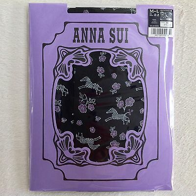 ANNA SUI Back Nylon Tights Zebra Flowers • 30 Den • M-L JP • Made in Japan