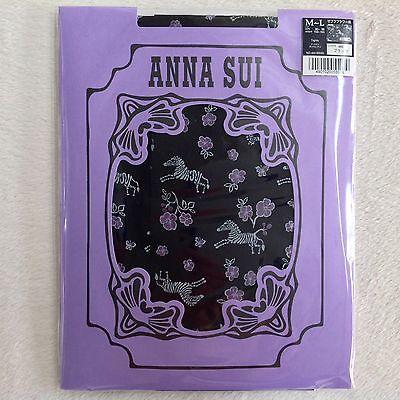 ANNA SUI Back Nylon Tights Zebra Flowers • 30 Den • M-L JP • Made in Japan
