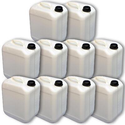 10er Pack Kanister 10 Liter weiß  DIN  45 Sichtstreifen und Skala Wasserkanister 10 Skala