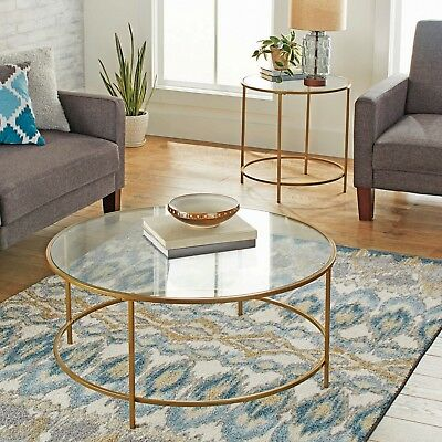 Modern Glass Coffee Table Metal Gold Legs Round Sofa Cocktail Living Furniture ()