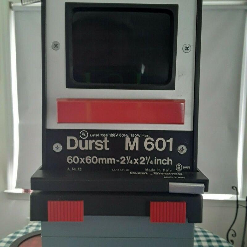 Durst M601 Photo Enlarger, Base, Stabilizer, Track, 50mm Lens, Red Filter, Bulb
