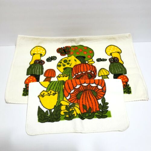 Vintage Mushroom Terry Cloth Towels Lot 1 Small Hand Kitchen Towel &1 Wash Cloth