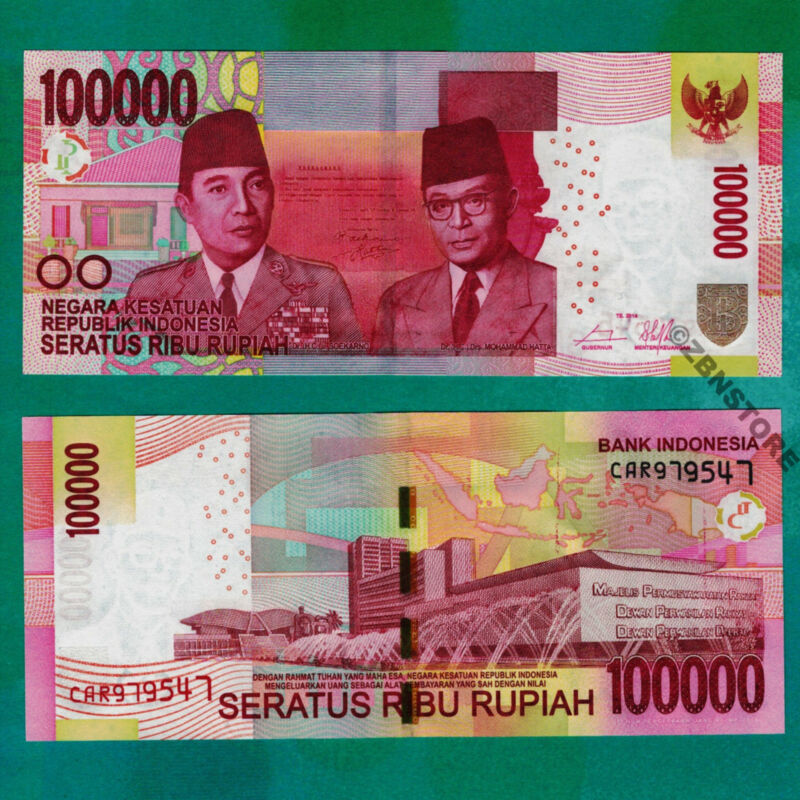 100,000 Indonesia Rupiah New UNC Uncirculated Banknote 2014 100000 Currency P153