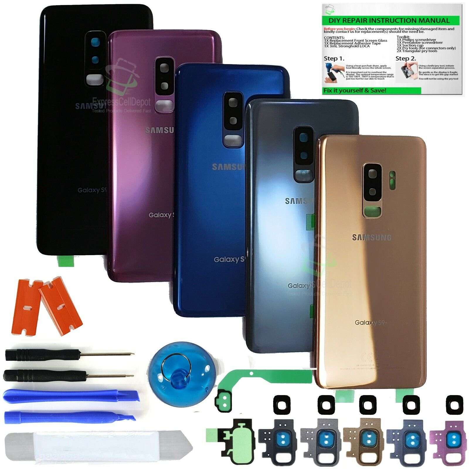 Back Glass Replacement Kit for Samsung Galaxy S9/S9+ w.CE Pr