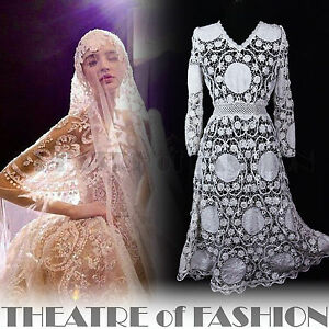 LACE-DRESS-VINTAGE-WEDDING-UK-10-12-14-16-WHITE-CROCHET-70s-BOHO-MAXI-VICTORIAN