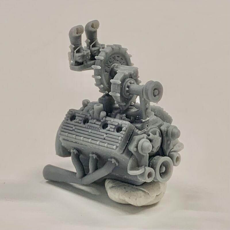 Resin Ford Flathead Frenzel Supercharged w/ Navarro Heads Engine Motor Swap 1/25