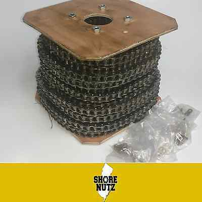 25np Nickel Plated Roller Chain 100ft With 10 Master Links Corrosion Resistant