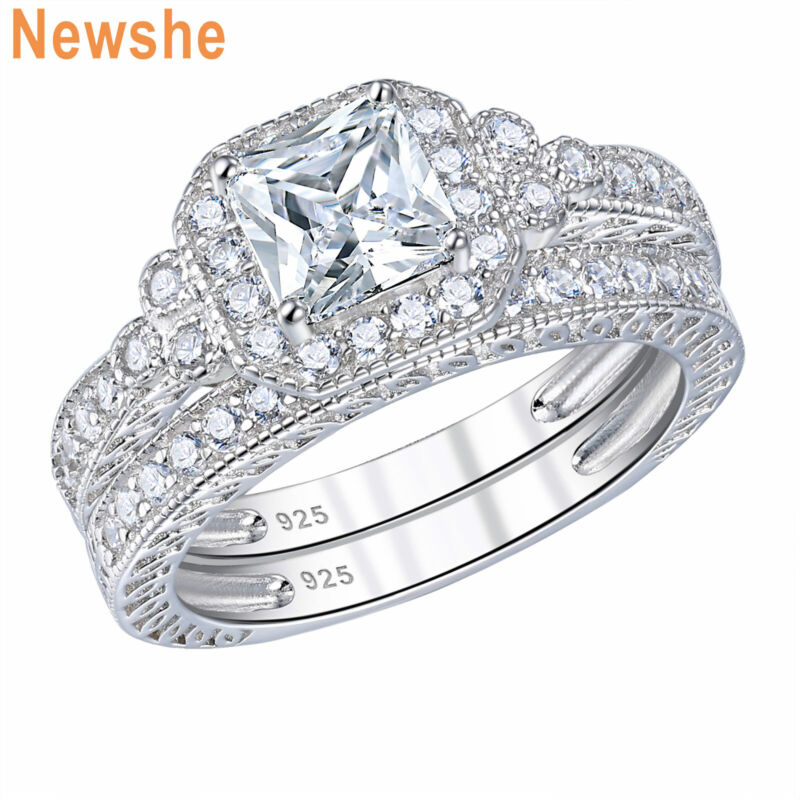 Newshe Wedding Engagement Ring Set For Women Sterling Silver Princess Aaaa Cz