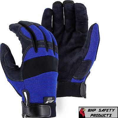Mechanics Work Gloves Majestic Glove Armorskin Synthetic Leather Medium 2137bl