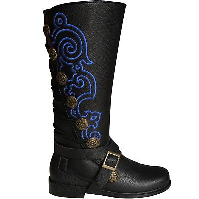 Men's Aris Archer Blue Embroidery Leather Knee Boots -Renaissance Pirate Cosplay