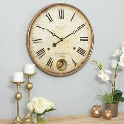 Large Wall Clock Big Vintage Rustic Antique Distressed Metal Wood 22 in Diameter
