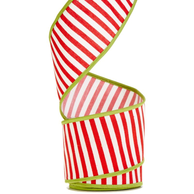RAZ Imports Red and White Striped Ribbon - 10 Yards
