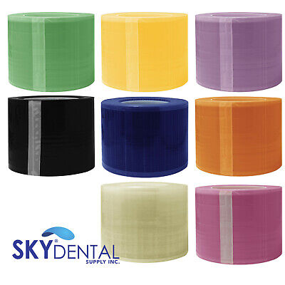 Dental Barrier Film 4x6 1200 Perforated Plastic Roll Blue Clear Pink Black