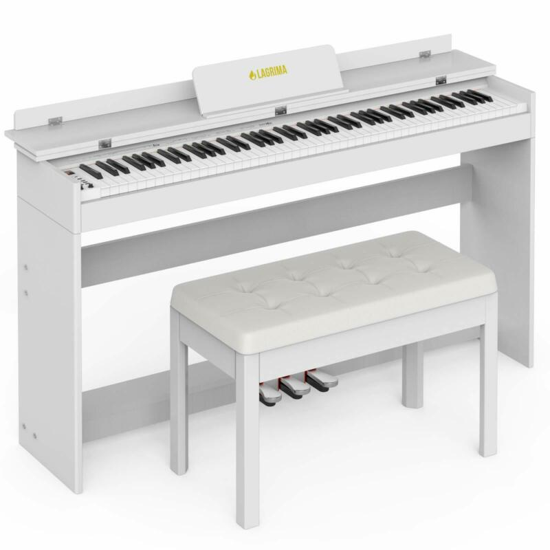 88 Key Electric Piano Keyboard w/ Bench Board Cover Stand Adapter 3 Pedal White