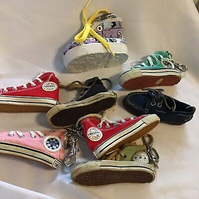 Lot of Converse All Star HI Top Shoes Key Chain Red Pink Blue Comic Sneakers