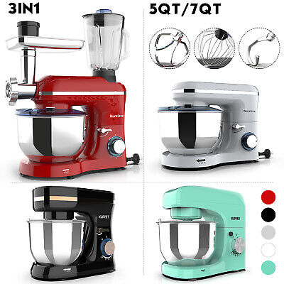 3 in 1 Tilt-Head Stand Mixer 4.7/7QT Bowl 6/8 Speed Red/Black/White/Blue Kitchen