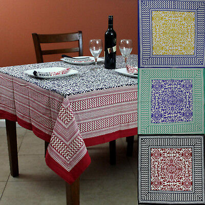 French Country Cotton Geometric Tablecloth Square Table Linen Napkin ()