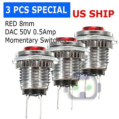 3 Pack Red 8mm Spst Normally Open Dac 50v 0.5a Momentary Push Button Switch