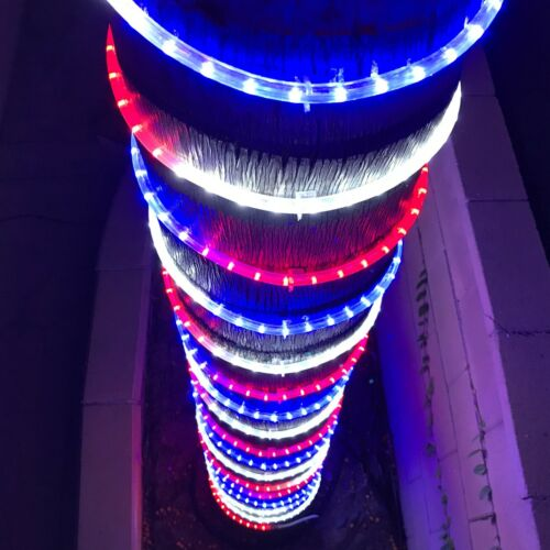 Russell Decor LED Rope lights 30-200ft Red White Blue Patriots Independence Day