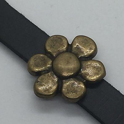 Antique Style Flower Slide Charm for 10mm Slide Keep Bracelets