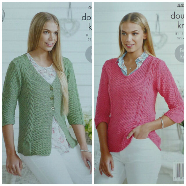 KNITTING PATTERN Ladies EasyKnit 3/4 Sleeve V-Neck Cable Jumper Cardigan DK 4485