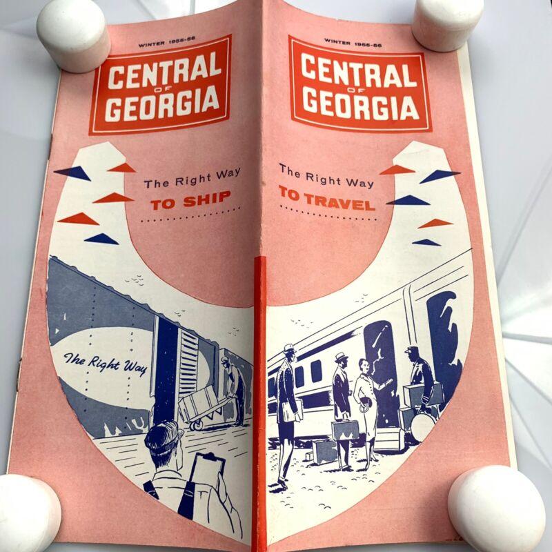 Vtg Winter 1955 Central Of Georgia Railway Passenger TimeTable & Map