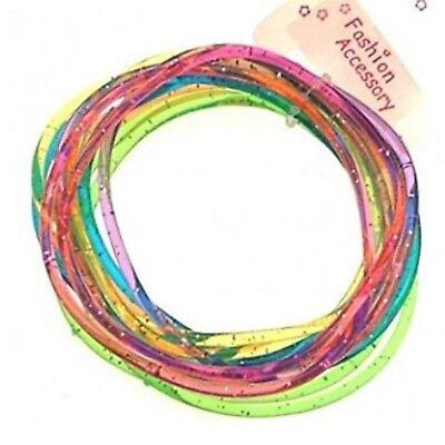 12 Girls Multi-Coloured Glitter Jelly Bangles Bracelets