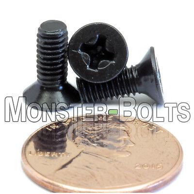 M4 x 10mm Phillips Flat Head Machine Screws, Steel w Black Ox Countersunk DIN965