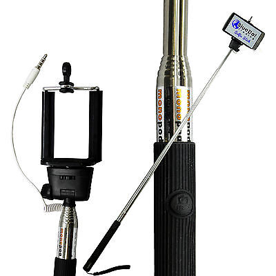 Selfie Stick MONOPOD BUILT IN Remote Shutter Button Extendable With Wire Control