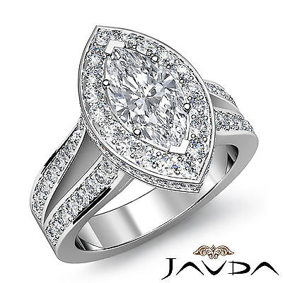 Halo Double Prong Marquise Diamond Engagement Split Shank Ring GIA H SI1 2.32 Ct