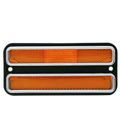 68-72 Chevy GMC Truck Front Side Amber Marker Light Lamp w/ Chrome Trim & Gasket