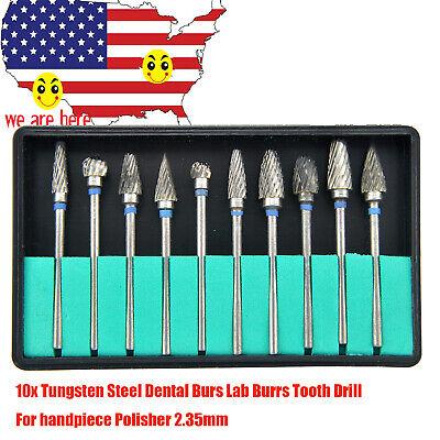 10pcs Tungsten Carbide Steel Dental Burs Burrs Lab Tooth Drill 2.35mm Polisher