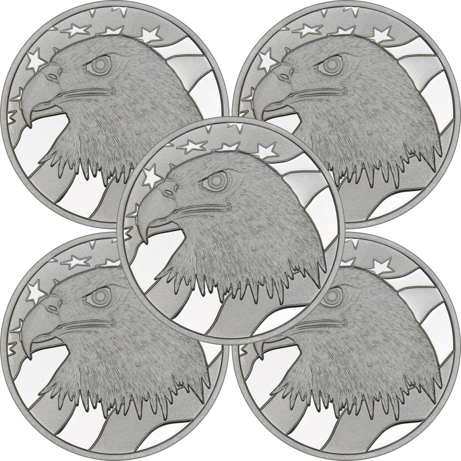 Pledge of Allegiance Silver Eagle 1 oz .999 Silver Round LOT of 5