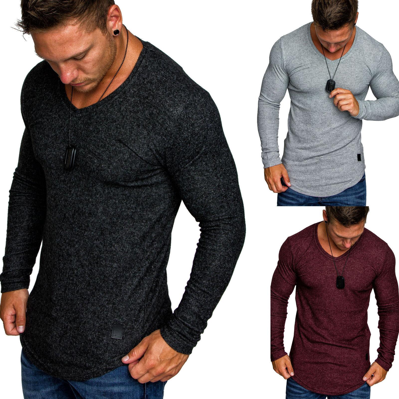 Herren Oversize Basic Pullover Melange Sweatshirt V-Neck Fein-Strick Hoodie 6054