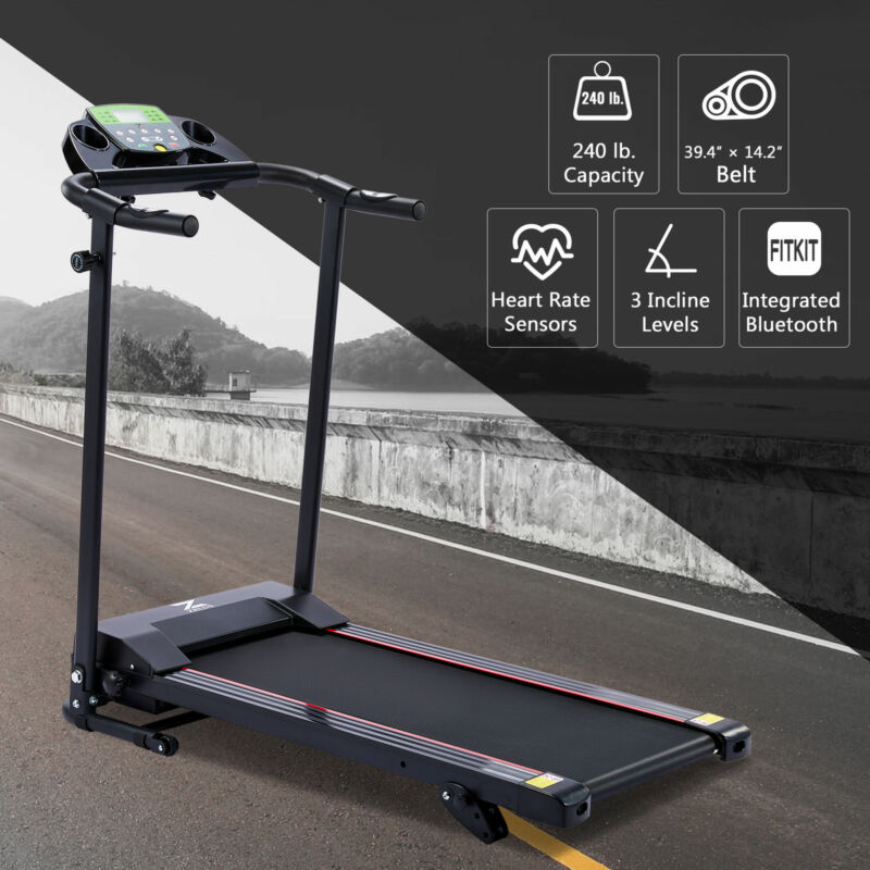 Portable Treadmill with Incline for Home Gyms 6.2mph 750W Motor Bluetooth & More