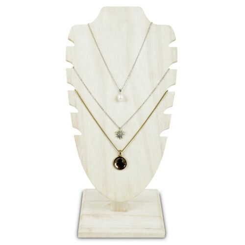 """Antiqued White Wooden Adjustable Necklace Chain Jewelry Display Stand  10""""H"""