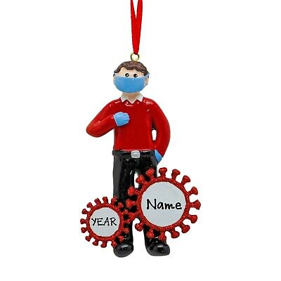 [Personalized 2020 Quarantine Guy With Mask Christmas Tree Ornament </Title]