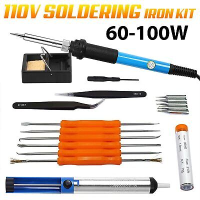 Hot 18in1 60w 110v Electric Soldering Iron Tools Kit Stand Desoldering Pump Set