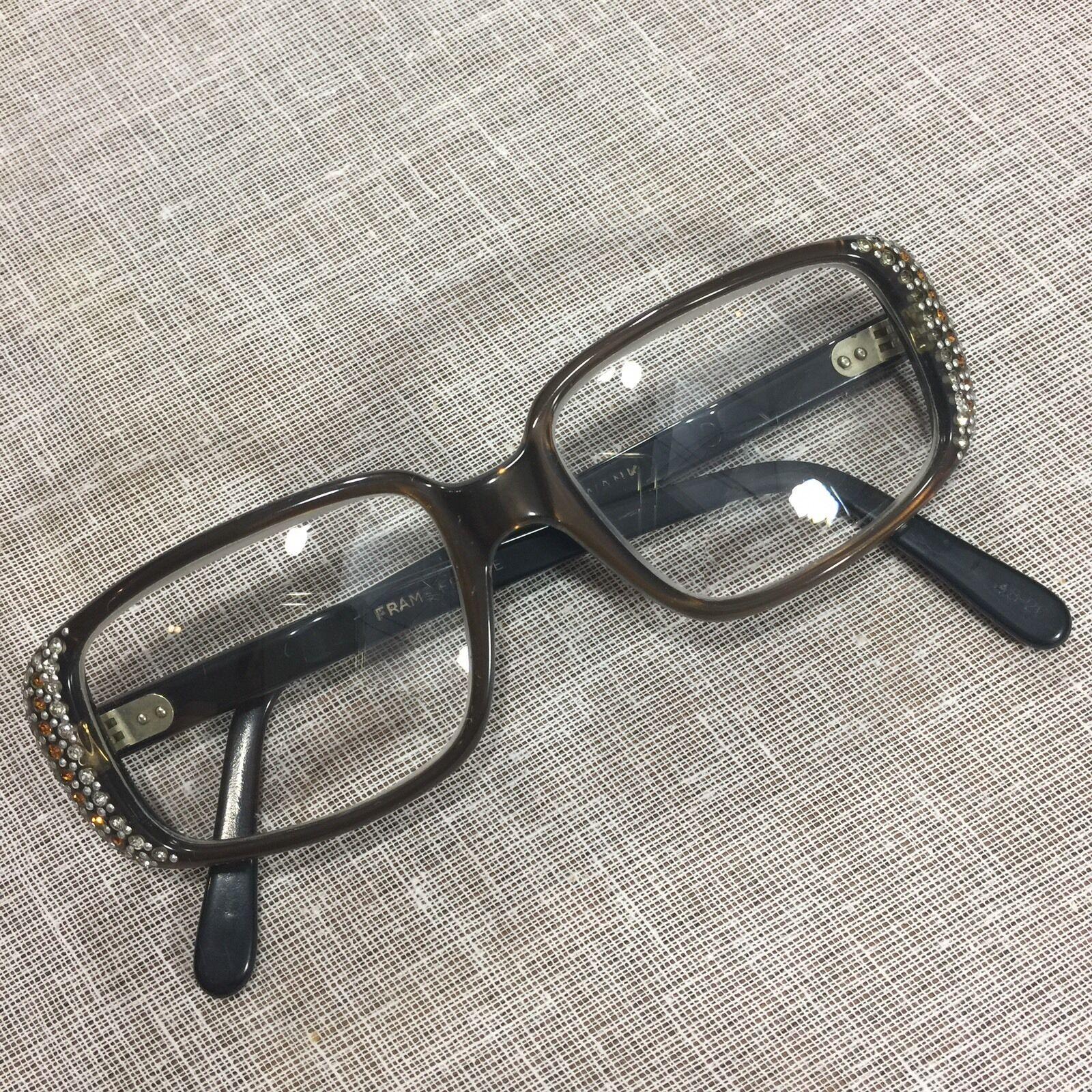 VINTAGE SWANK FRANCE Brown RX Eyeglasses Frames Glasses Rhinestones ...