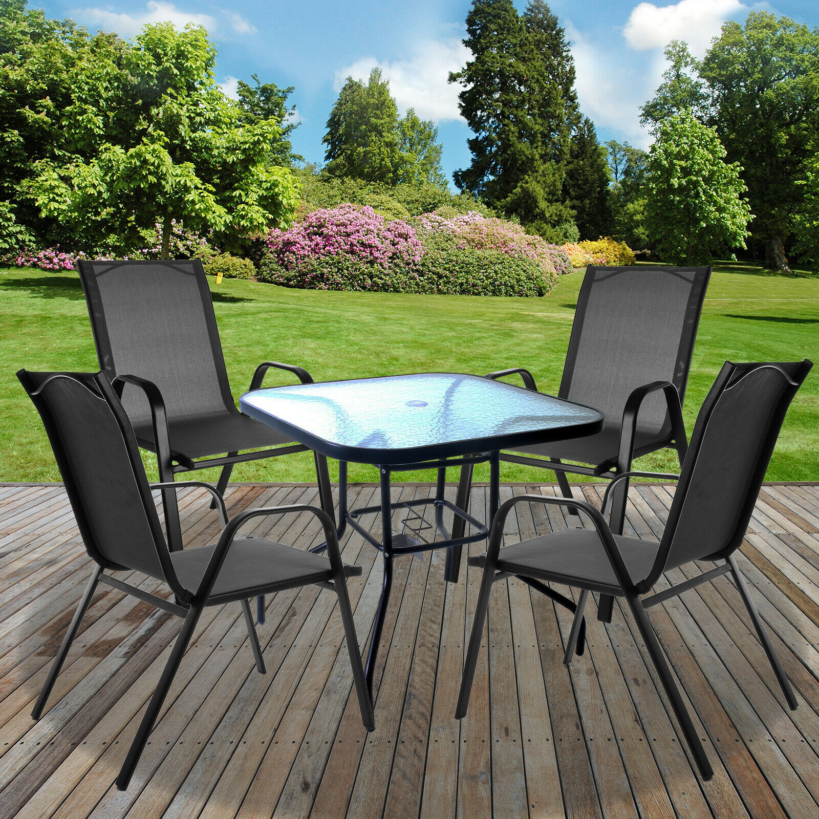 Garden Furniture - GARDEN FURNITURE SETS OUTDOOR PATIO SEATS GLASS TABLES & STACKING CHAIRS PARASOL
