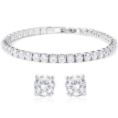 """Cubic Zirconia CZ Stud Solitaire Earrings Tennis Bracelet 7"""" Bridal Set"""