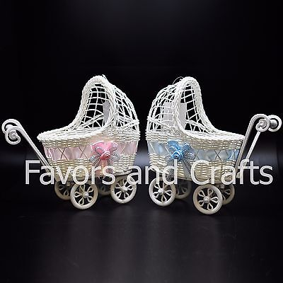 Baby Shower Carriage (Baby Shower Carriage Wicker Table Centerpiece Favors Boy Girl Gifts Decorations)
