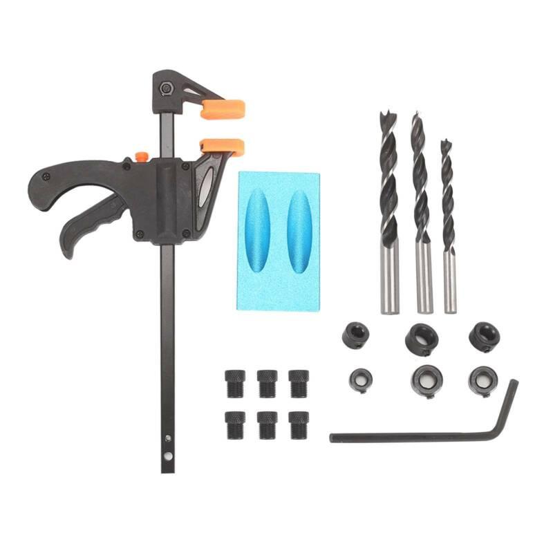 Trousse de localisateur de per/çage dangle Delaman r/égl/ée sur 15 degr/és en aluminium Guide du menuisier Outils /à main en bois Pocket Hole Jig