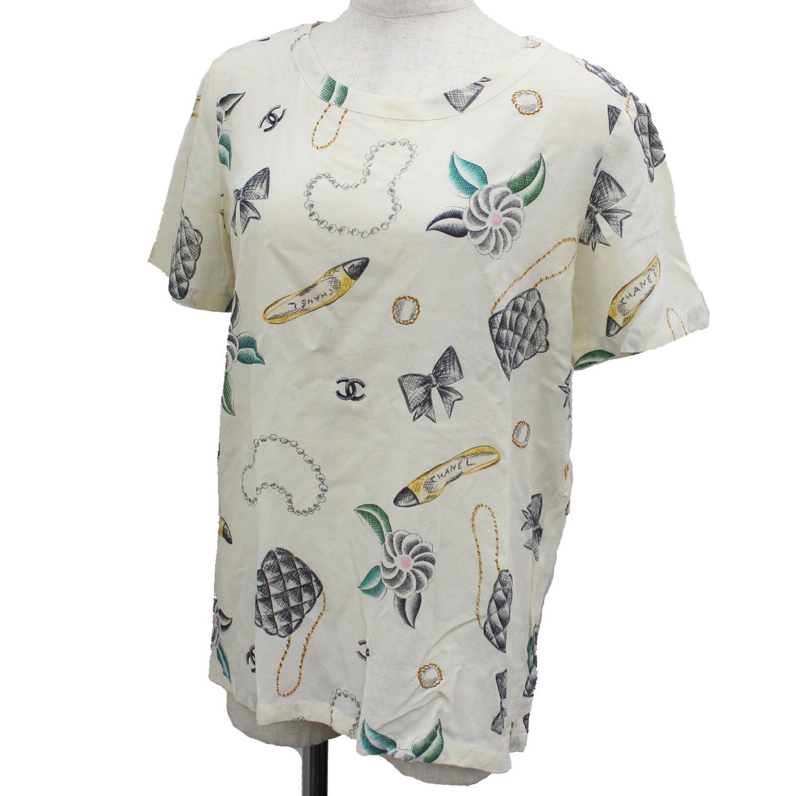 Chanel Boutique Bluse T-Shirt über Weiß 100% Seide Vintage France Auth #M609 M